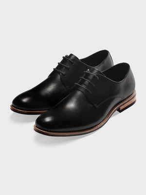 black leather wood sole the black tux